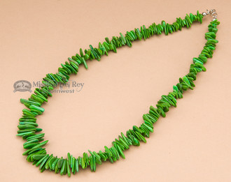 "American Indian Beaded Necklace 17"" -Green"