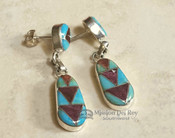 Native American Zuni Indian Silver Inlaid Earrings