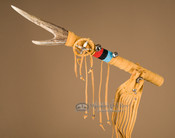 "Pueblo Indian Antler Medicine Stick 18"" -Gold Buckskin"