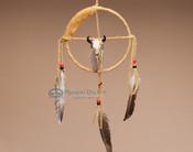 Navajo Deer Skin Medicine Wheel with Skull Adornment