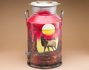Hand Painted Western Milk Can - Sunset Elk.