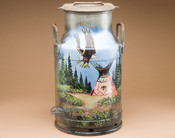 Painted Native Style Milk Can - Indian Village.