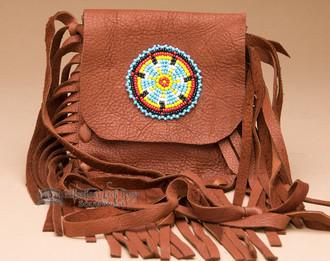 Cherokee Indian Leather Bag - Brown