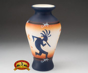 "Native American Navajo Pottery Vase 10"" -Kokopelli (v204)"