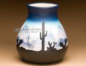 Native American Navajo Pottery Vase-Sonora Desert Blue