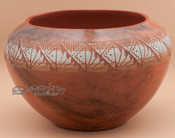 Etched Horsehair Rainbow Pottery Bowl