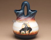 "Native American Navajo Wedding Vase 8"" -End of Trail"