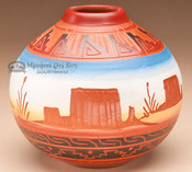 "Indian Pottery Etched Clay Vase 4.5"" - Navajo (p217)"