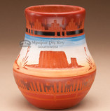 "American Indian Navajo Pottery Vase 4.5"" -Hand Etched (p232)"