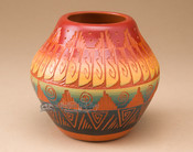 Etched Navajo Pottery Bowl with Lid