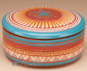"Indian Pottery Etched Clay Bowl & Lid 5"" -Navajo (p322)"