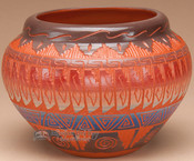 Indian Pottery Etched Clay Vase 4.5 -Navajo (p323)