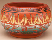 Indian Pottery Etched Clay Bowl 3.25 -Navajo (p327)