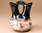 "Native American Navajo Wedding Vase 8.25"" -Horses"