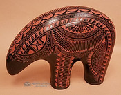 Etched Navajo Pottery Bear Figure