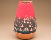 "Native American Lakota Red Bullet Vase 10"" -Sioux (p607)"