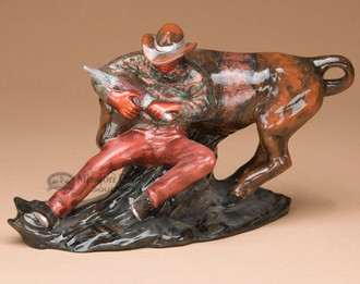 Cowboy & Steer Native American Pottery