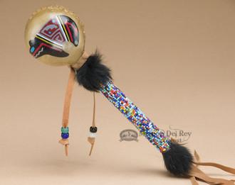Native American Painted Rawhide Beaded Rattle - Bear