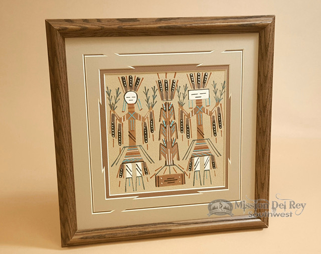 Authentic Native American Navajo Sand Painting 14 Sp18 Mission