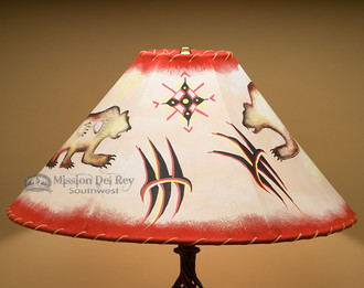 """Hand Painted Rustic Leather Lampshade 20"""" -Bear"""