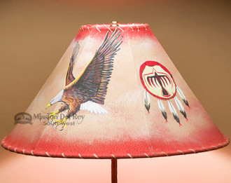 """Rustic Western Leather Lampshade 18"""" -Eagle"""