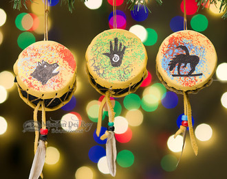 3 Piece Set of Drum Ornaments - Native American