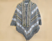 Woven Grey Poncho with Scarf