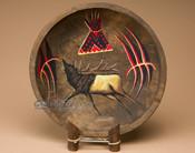Round Painted Bowl - Elk