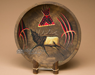Round Painted Bowl - Elk