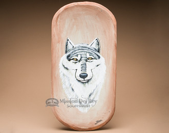 Painted Wooden Bowl - Wolf Profile