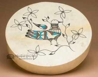 Painted Drum -Tigua Indian Parrot