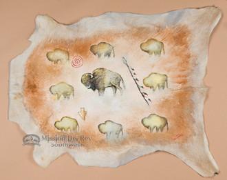 Southwestern Painted Goat Hide - Cave Art Buffalo
