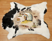 Hand Painted Western Cow Hide - Native Life