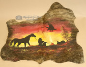 Genuine hand painted hide with beautiful rustic art.