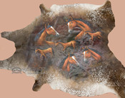 Large Painted Cowhide Wall Hanging - Horses