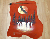 Indian Arrow with Painted Leather - Sunset Eagle Over Waterfalls