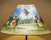 Indian Village Painted Lamp Shade