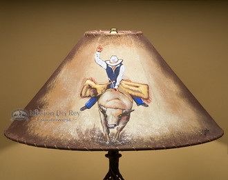 """Painted Leather Lamp Shade 20"""" -Bull Rider"""
