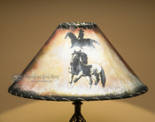 Painted Leather Lamp Shade - Mustang