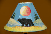 "Painted Leather Lamp Shade 15"" -Black Bear"