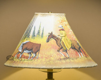 """16"""" Painted Leather Lamp Shade -Cowboy"""