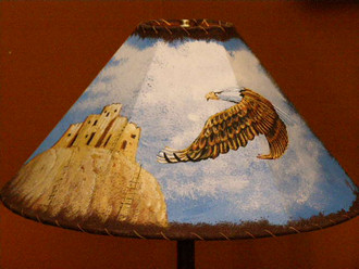 """20"""" Painted Leather Lamp Shade - Eagle/Pueblo"""