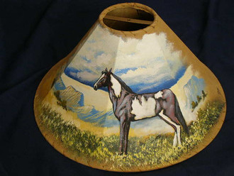 "20"" Painted Leather Lamp Shade -Painted Pony"
