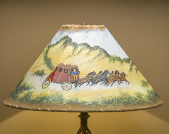 """20"""" Painted Leather Lamp Shade -Stage Coach"""