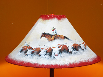"""20"""" Painted Leather Lamp Shade -Cattle Drive"""