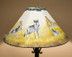 "20"" Painted Leather Lamp Shade -Wolf Pack"