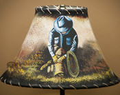 "Painted Leather Lamp Shade - 12"" Cowboy"
