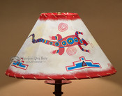 "Painted Leather Lamp Shade - 16"" Lizard"