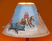 "Painted Leather Lamp Shade - 15"" Cowgirl"