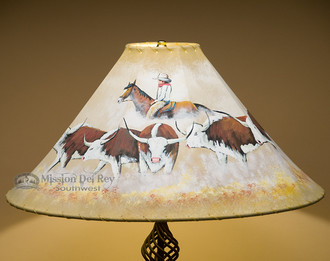 "22"" Painted leather lampshade - Cattle Drive."